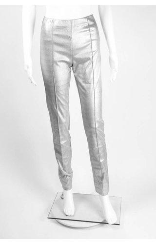 Alembika Metallic Faux Leather French Seam Pant