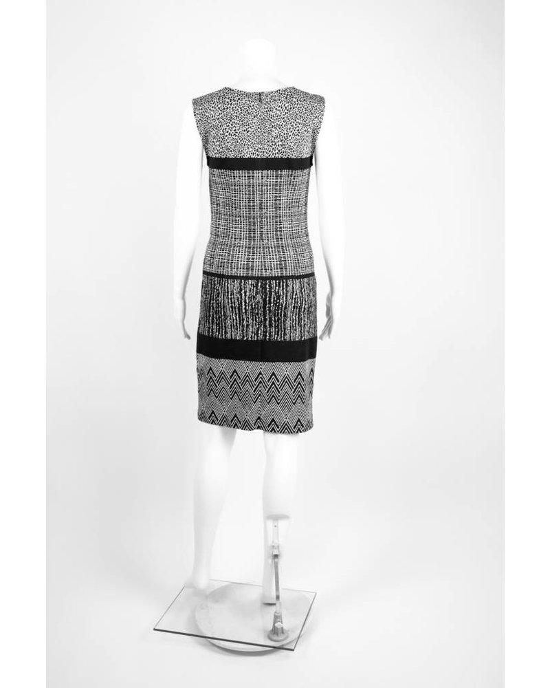 Cristina Gavioli Abito Mixed Print Sheath Dress