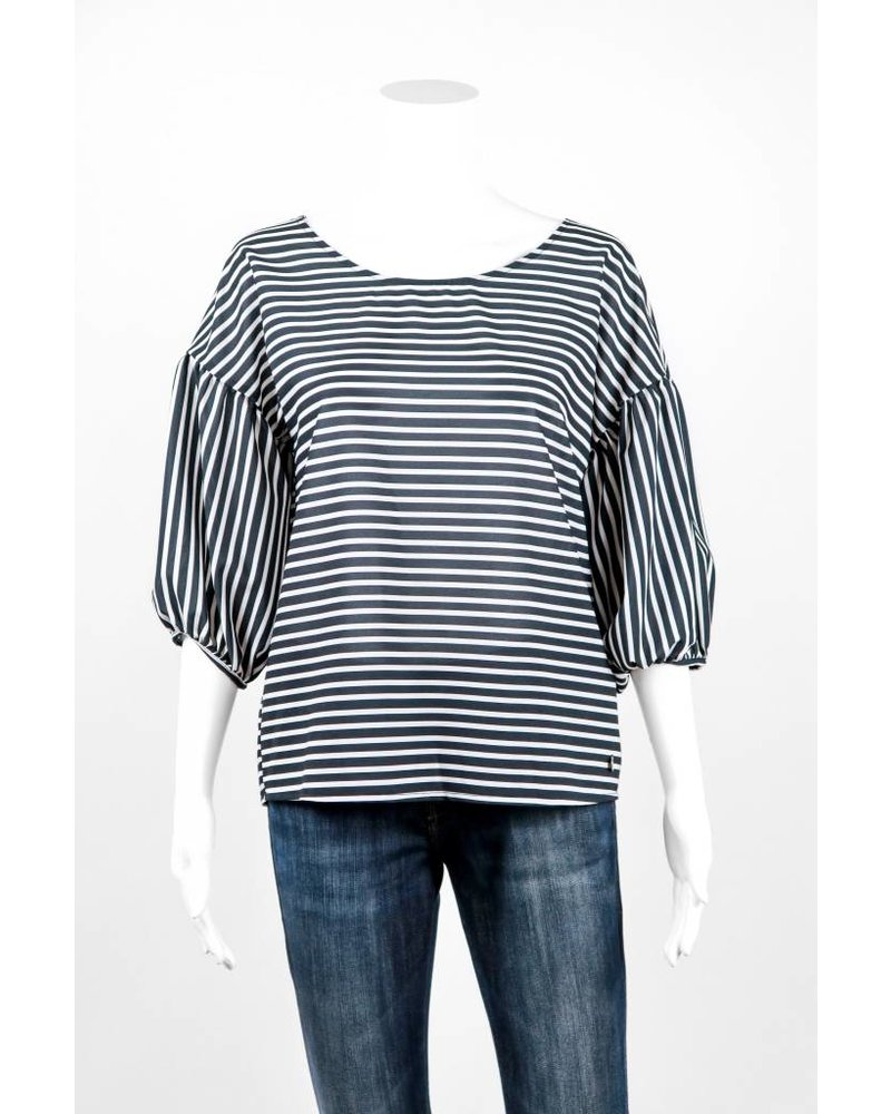 Cristina Gavioli Casacca Stripe Puff Sleeve Blouse