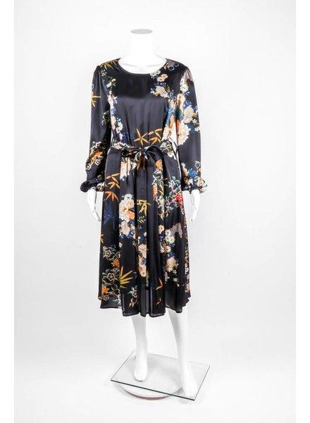 Cristina Gavioli Long Sleeve Floral Sashed Dress