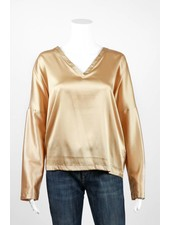 European Culture Dolman V Neck Charmeuse Blouse