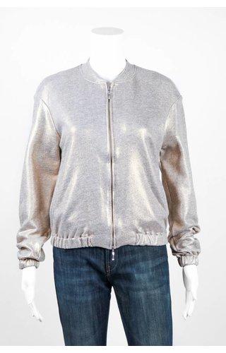 European Culture Metallic Bomber Jacket