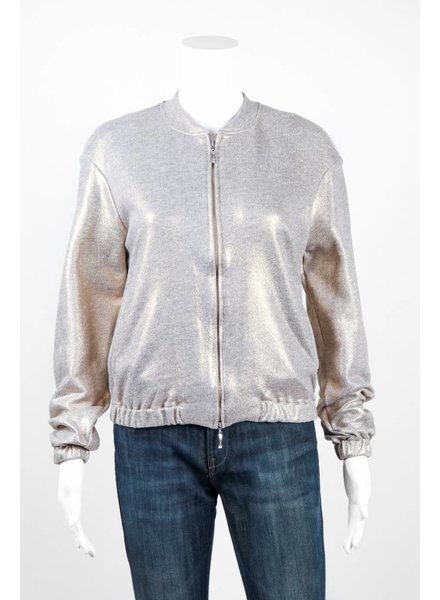 European Culture Metallic Bomber Jacket