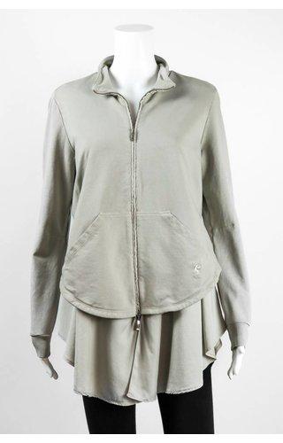 European Culture Zip Front HiLo Knit Jacket