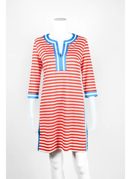 Gretchen Scott Split Neck Stripe Dress