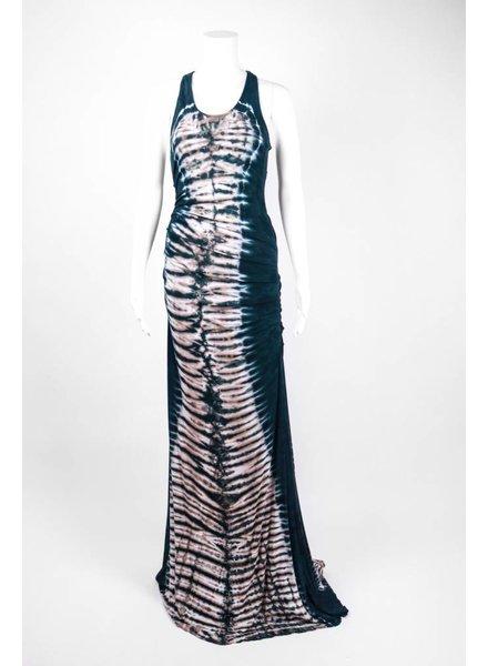 Emotion Ruffled Side Tie Dye Maxi Dress