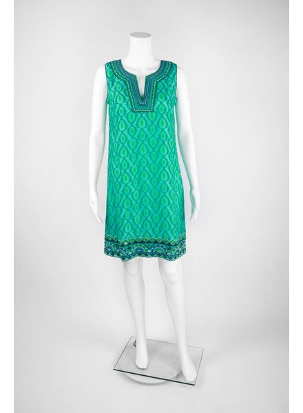 Bella Tu Sleeveless Beaded Open Collar Dress