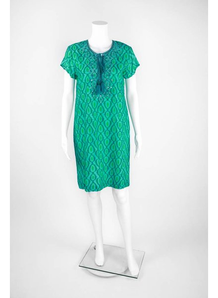 Bella Tu Short Sleeve Beaded Open Collar Dress