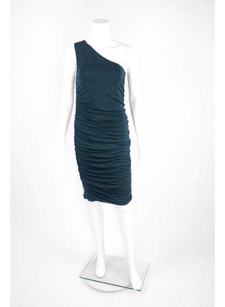 724 One Shoulder Scrunched Side Dress