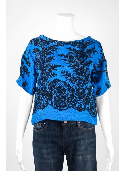 Tracy Reese Floral & Lace Print Top