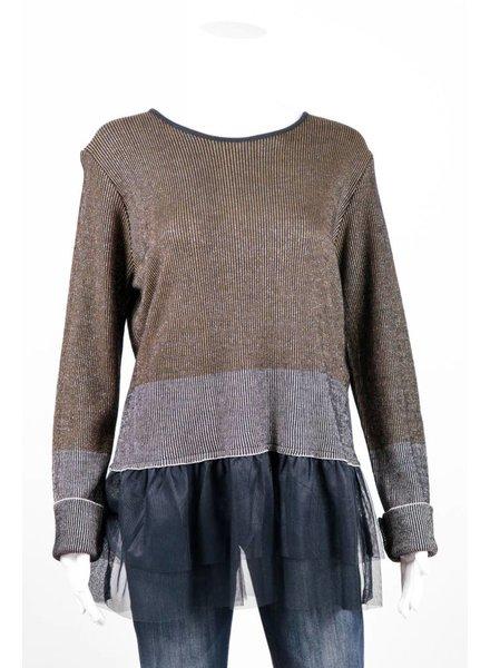 Cristina Gavioli Metallic Stripe Peplum Sweater