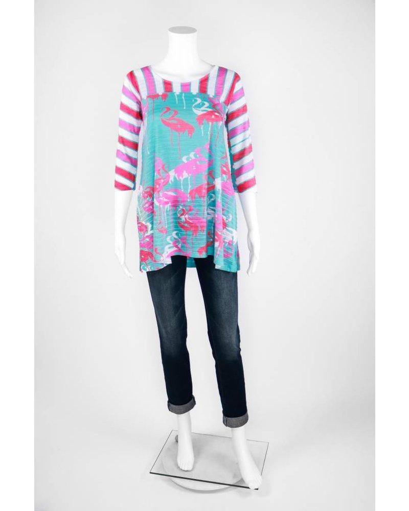 Atelier5 3/4 Sleeve Flamingo Striped Top
