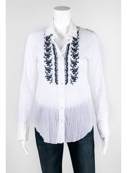 Curvo Embroidered Button Up Top