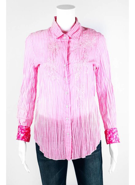 Curvo Two Tone Embroidered Button Up Top