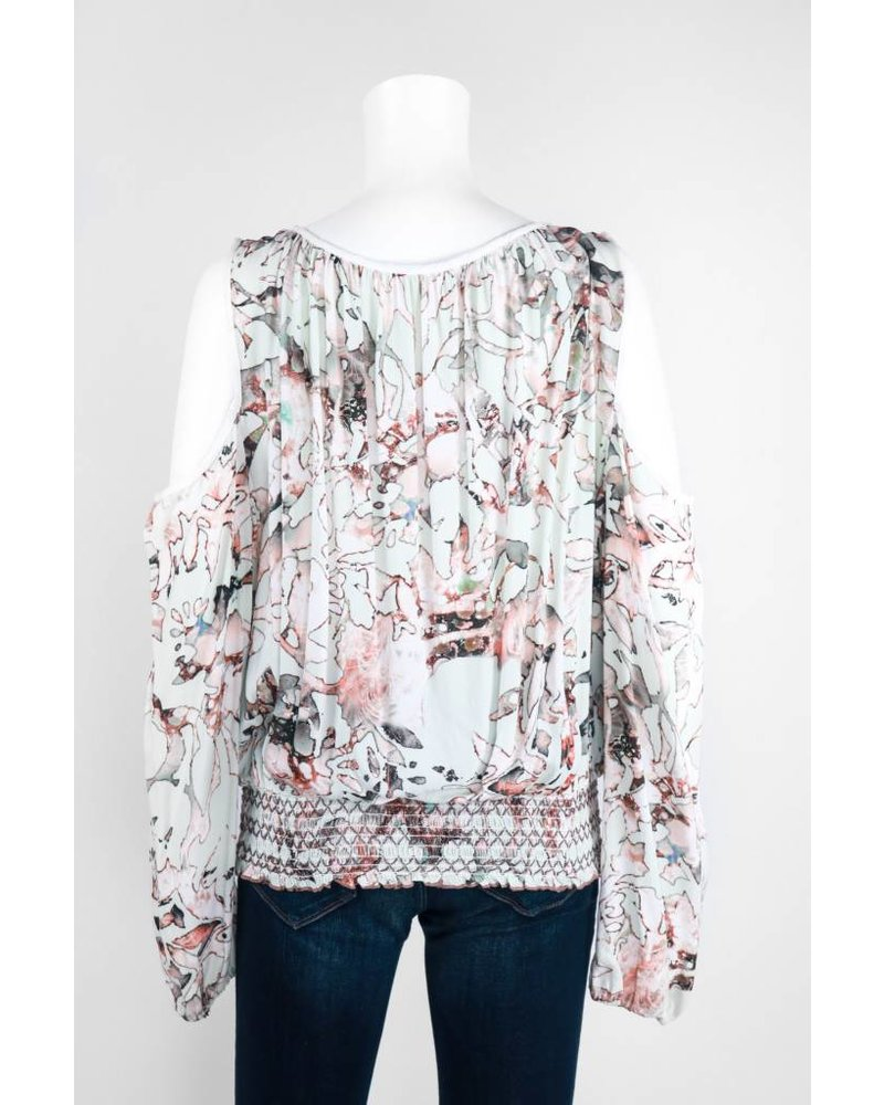 Long Sleeve Cold Shoulder Scrunched Hem Top