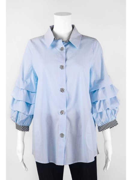 IC Collection Pinstripe With Ruffle Sleeve Blouse