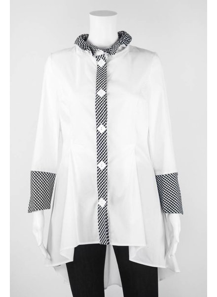 IC Collection Ruffled Collar With Gingham Detail Blouse
