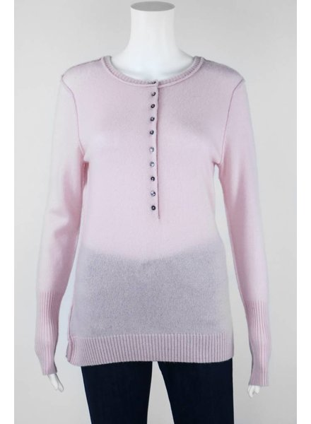 Autumn Cashmere Long Sleeve Sweater With Studded Skull Elbows