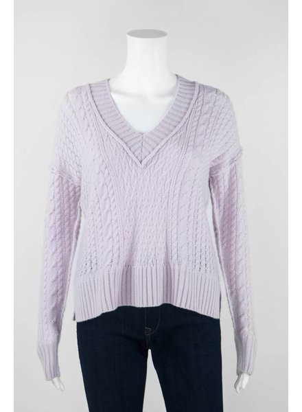 Autumn Cashmere Long Sleeve Open Cable Cropped Sweater