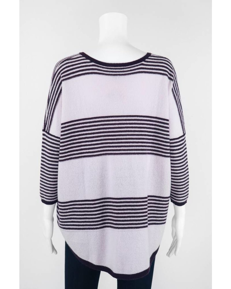 Autumn Cashmere 3/4 Sleeve Striped HiLo Sweater