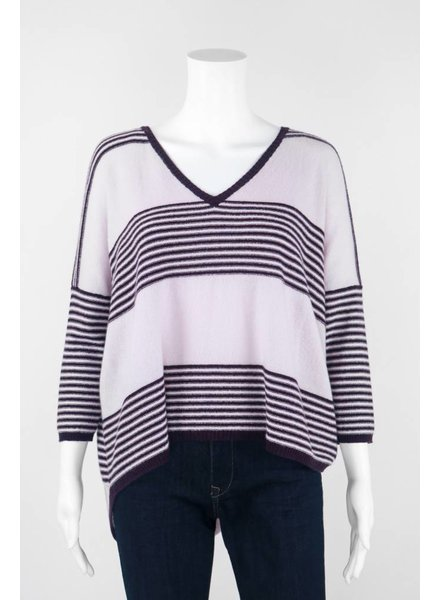 Autumn Cashmere 3/4 Sleeve Striped HiLo Sweater