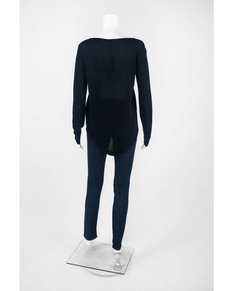 Mel & Lisa Long Sleeve HiLo Cotton Silk Sweater