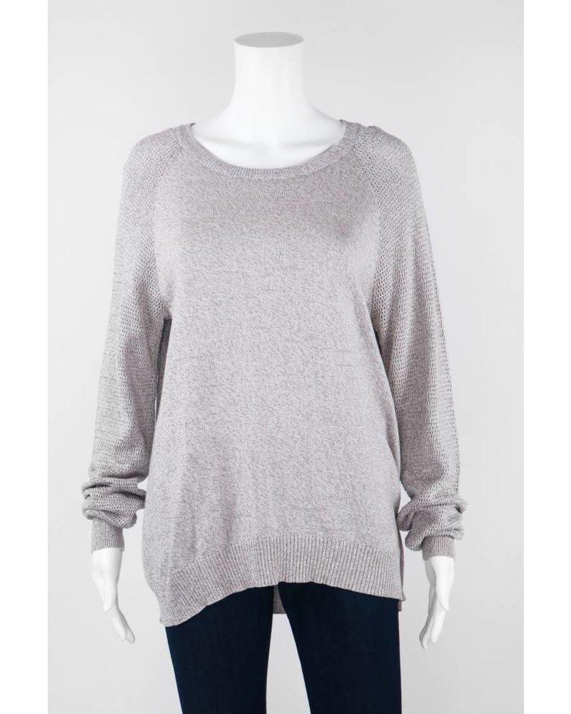 Mel & Lisa Long Sleeve Silk Sweater With Stretchy Hem