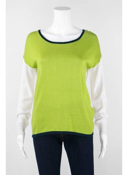 Mel & Lisa Long Sleeve Two Toned Silk Sweater