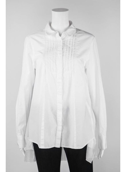 European Culture Long Sleeve HiLo Button Top With Ruffles