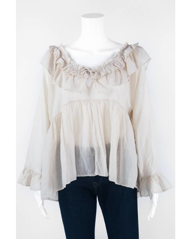 European Culture Long Sleeve Ruffled Blouse