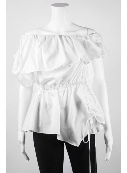Why Dress Cinched Front Ruffle Top