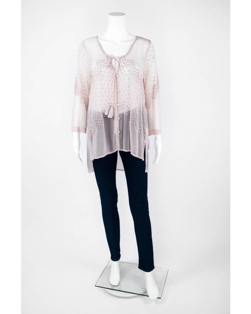 Tracy Reese 3/4 Sleeve Tie Front Embroidered Blouse