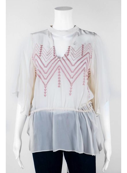 Tracy Reese Triangle Patterned High Neck Blouse