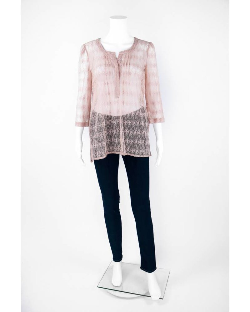 Tracy Reese 3/4 Sleeve Mesh Lace Blouse