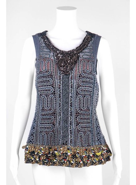 Byron Lars Beauty Mark Crochet Side Scoop Neck Knit Sleeveless Top