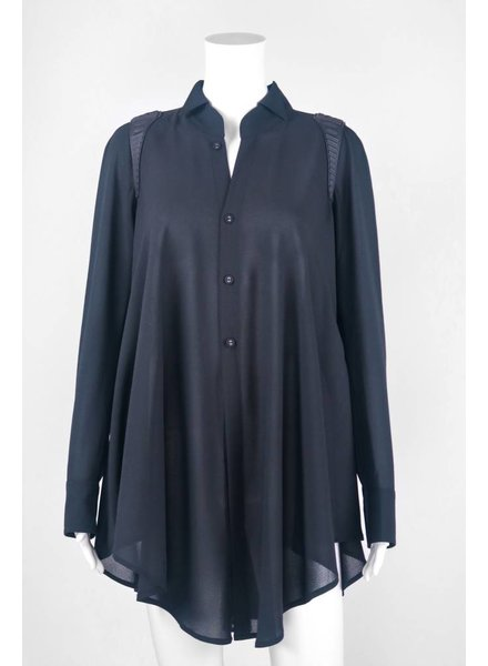 Byron Lars Beauty Mark Button Down Shoulder Padded Blouse