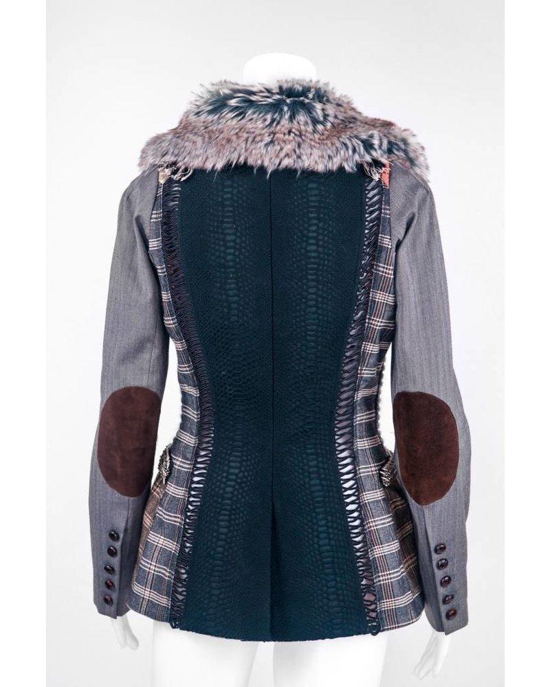 Byron Lars Beauty Mark Fur Collar Patterned Coat