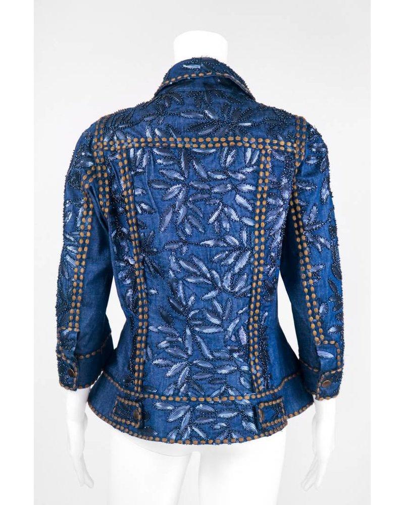 Byron Lars Beauty Mark Stretched Denim Beaded Jacket
