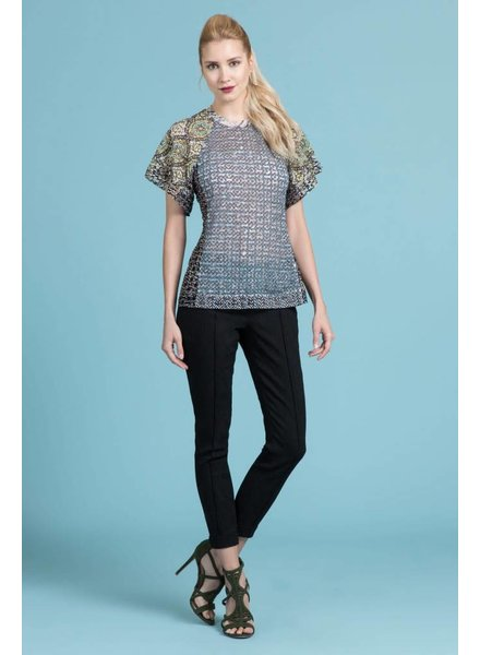 Byron Lars Beauty Mark Mosaic Laser Cut Pool Tee