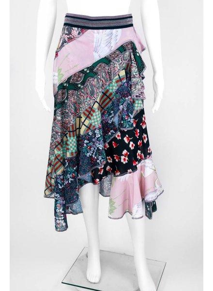 Byron Lars Beauty Mark Print Collage Cascading Skirt