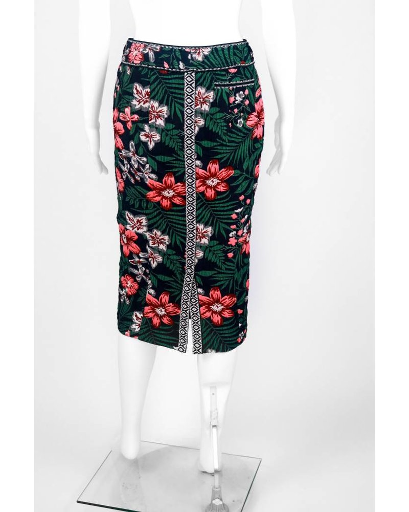 Byron Lars Beauty Mark Floral Spice Jacqured Tailored Skirt