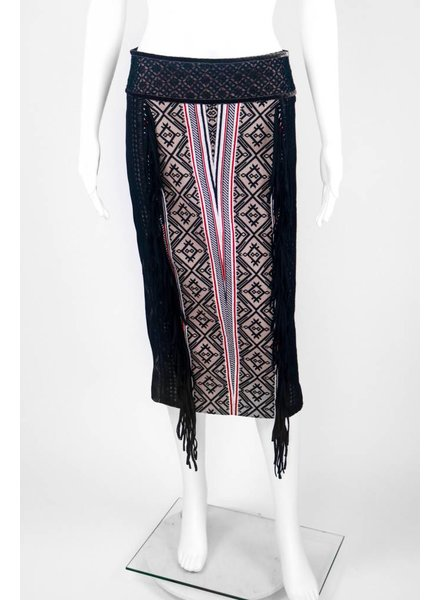 Byron Lars Beauty Mark Aztec Print Fringe Pencil Skirt