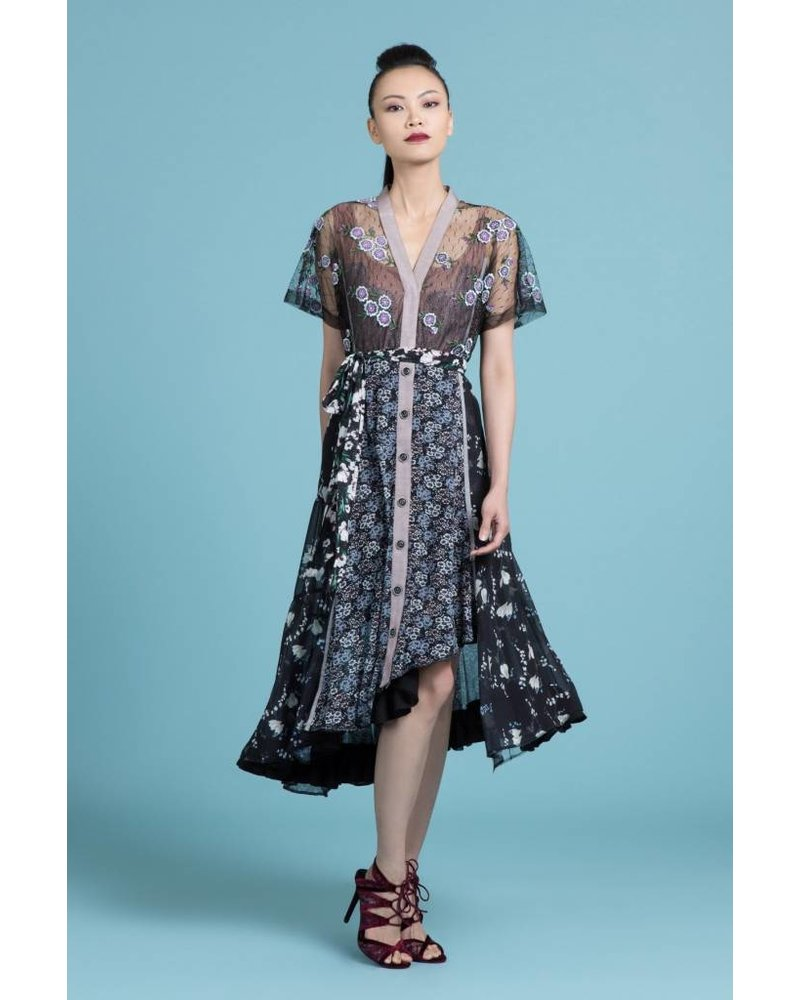 Byron Lars Beauty Mark Fit And Flare Floral Lace Dress