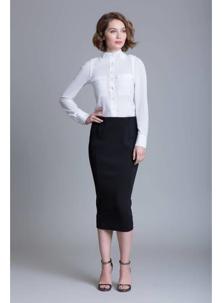 Byron Lars Beauty Mark Side Button Down Pencil Skirt