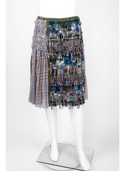 Byron Lars Beauty Mark Plaid Fringe Pencil Skirt