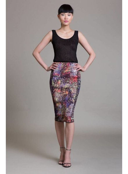 Byron Lars Beauty Mark Sequin Side Lace Skirt