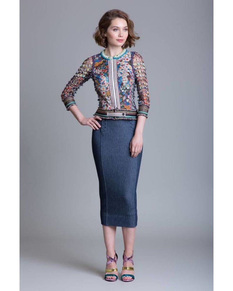 Byron Lars Beauty Mark Button Skirt