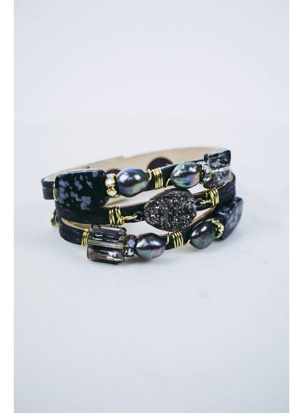 Suzy T Thin Leather & Stone Bracelet