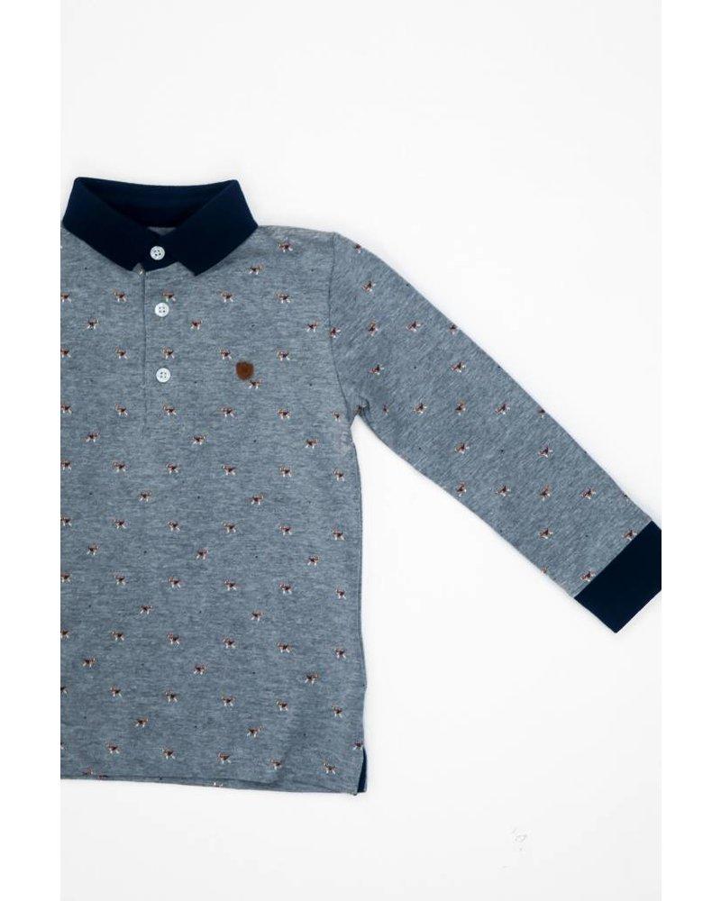 Mayoral Dog Pattern Button Collar Shirt
