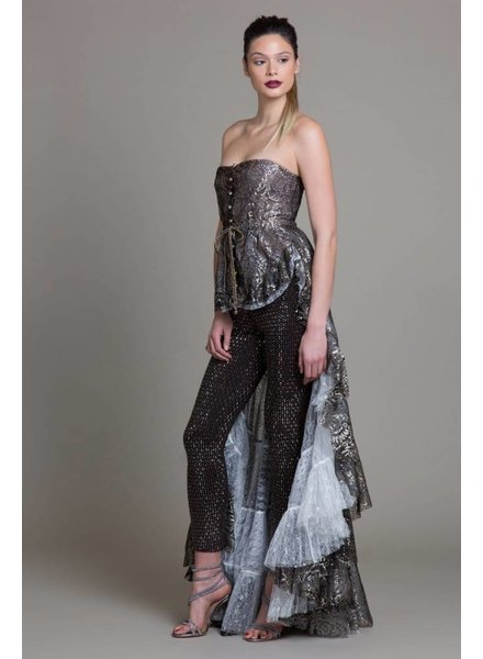 Byron Lars Beauty Mark Metallic Bustier & Carrington Beaded Pant